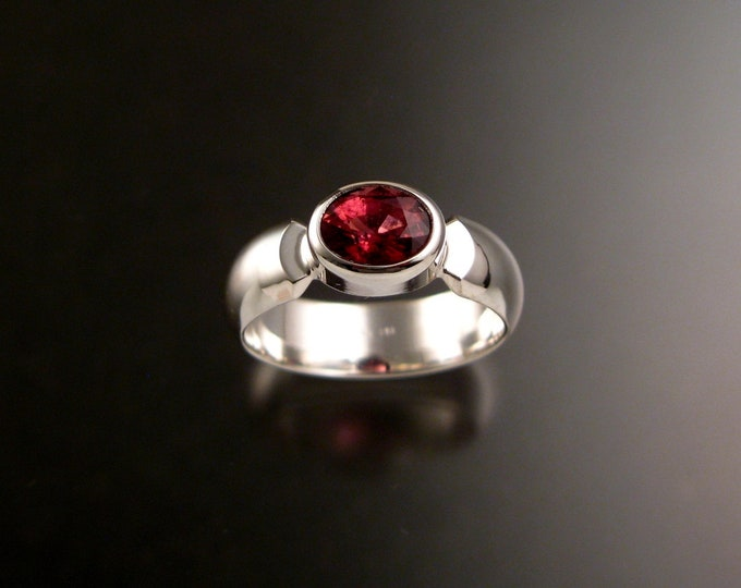 Pink Tourmaline ring Handcrafted in sterling silver bezel set east west size 7