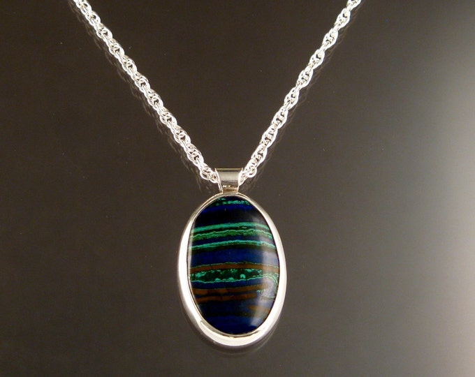 Azurite and Malachite Oval shaped bezel set adjustable length Necklace Handmade in Sterling silver