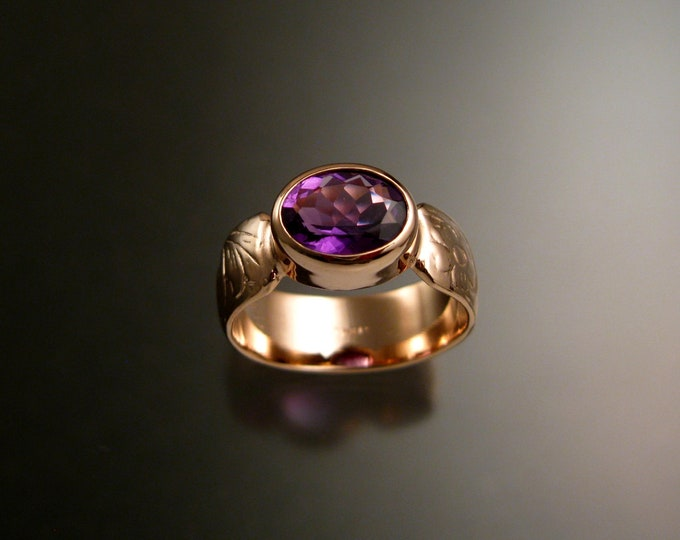 Amethyst 14k Rose Gold handmade wide Victorian floral pattern band ring east west bezel set stone ring made to order in your size