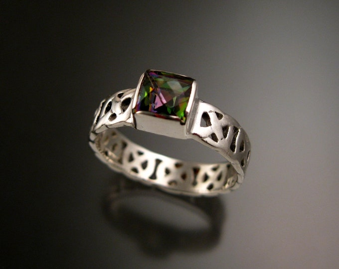 Mystic Topaz 6mm square Celtic band Wedding ring handcrafted in Sterling Silver made to order in your size