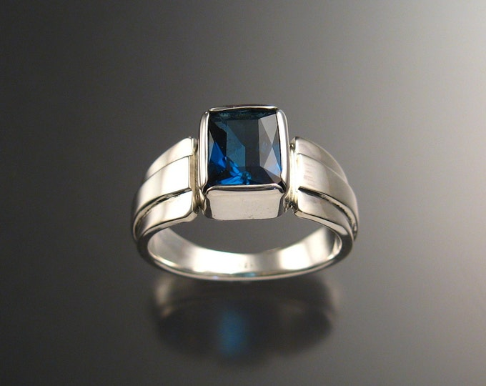 London Blue Topaz ring Large rectangle stone deep blue Sterling silver Sapphire substitute mans ring Made to order in your size
