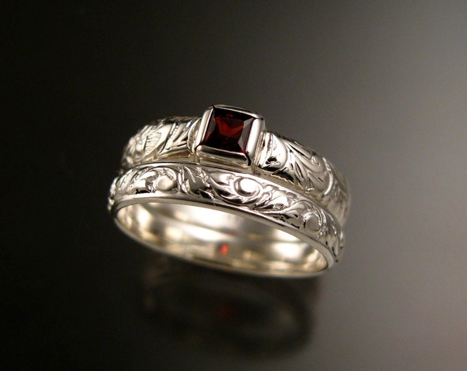 Garnet Ring set Sterling Silver square stone Victorian floral pattern band Sterling Silver two ring set Handmade to order in your size