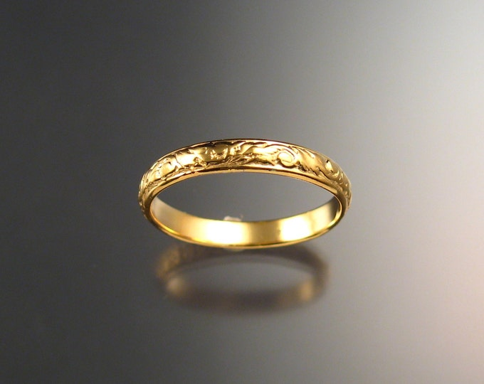 14k Yellow Gold 3.25 mm x 1mm Floral pattern Band wedding ring made to order in your size Victorian wedding band