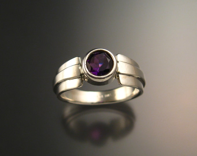 Amethyst round stone ring Sterling Silver handmade in your size