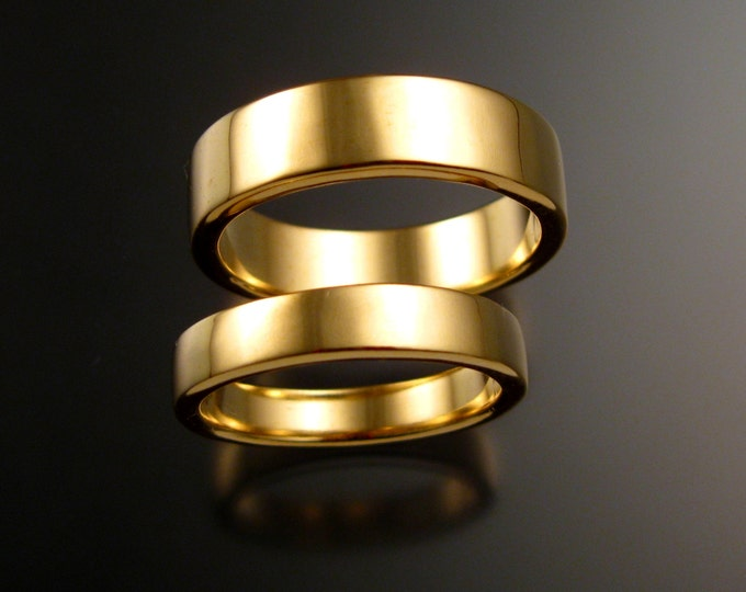Yellow Gold Rectangular Wedding bands Heavy 14k His and Hers two ring set bright finish rings made to order in your size