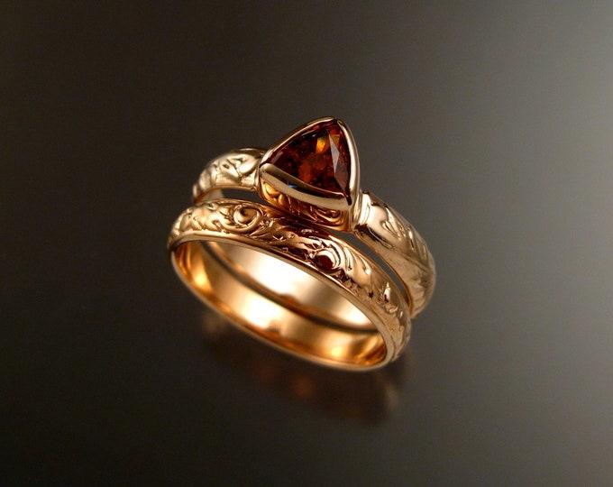 Orange (Mandarin) Garnet Triangle wedding ring set 14k Rose Gold Victorian bezel set stone two ring set made to order in your size