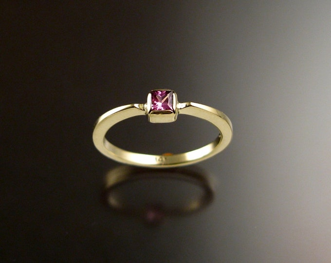 Pink Sapphire square stone stackable ring 14k Green Gold size 7 1/4