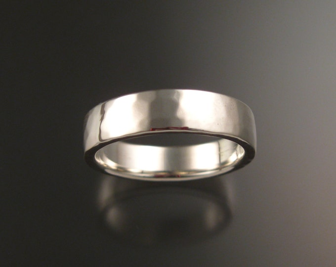 Sterling Silver Rectangular Wedding ring comfort fit band bright Hammered finish ring made to order in your size