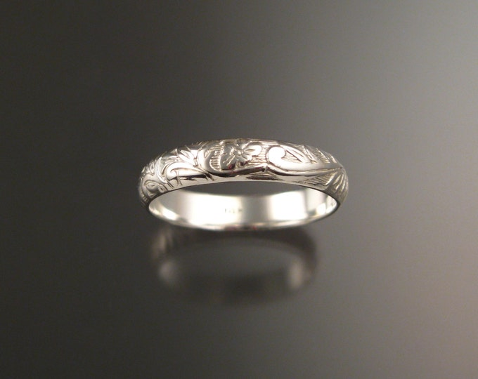 14k White Gold 4mm Floral pattern Band wedding ring made to order in your size Victorian wedding band
