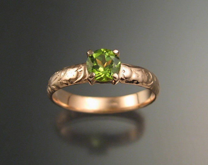 Peridot Wedding ring 14k rose Gold ring made to order in your size