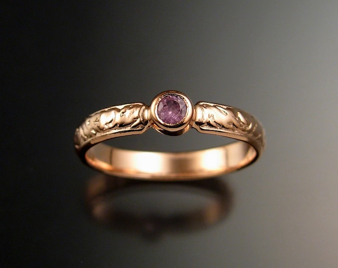 Pink Sapphire Wedding ring 14k Rose Gold Victorian bezel set Pink Diamond substitute ring made to order in your size