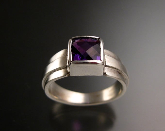 Amethyst ring Checkerboard cut Square ring made to order in your size sturdy silver band ring