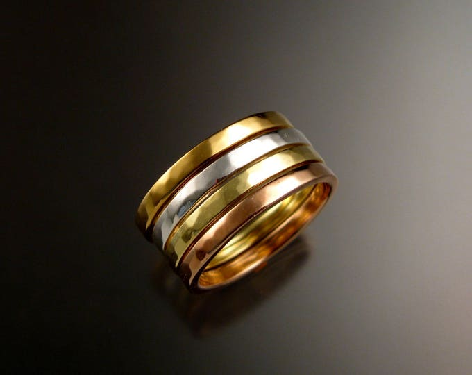 Solid 14k Gold stackable ring set 14k White, Yellow, Green and Rose Gold Four Band ring set