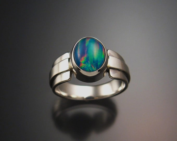 Moonstone and deep blue lab Opal Doublet ring Sterling Silver made to order in your size