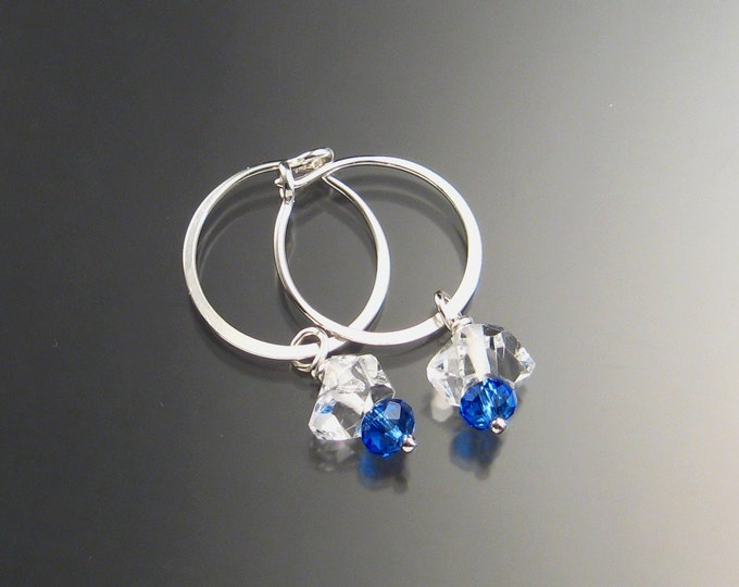 Natural Quartz Crystal Birthstone Hoop Earrings September birthstone Sapphire blue Hoops in Sterling silver