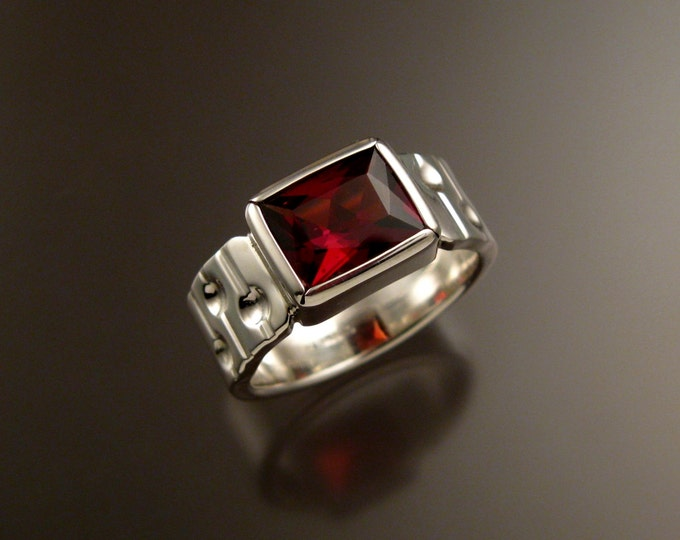 Garnet Ring Sterling Silver Bars and craters band large rectangular stone ring size 10.