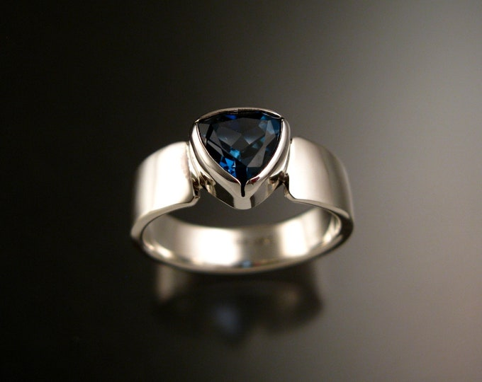 London Blue Topaz Trillion cut ring sterling silver Sapphire substitute ring made to order in your size