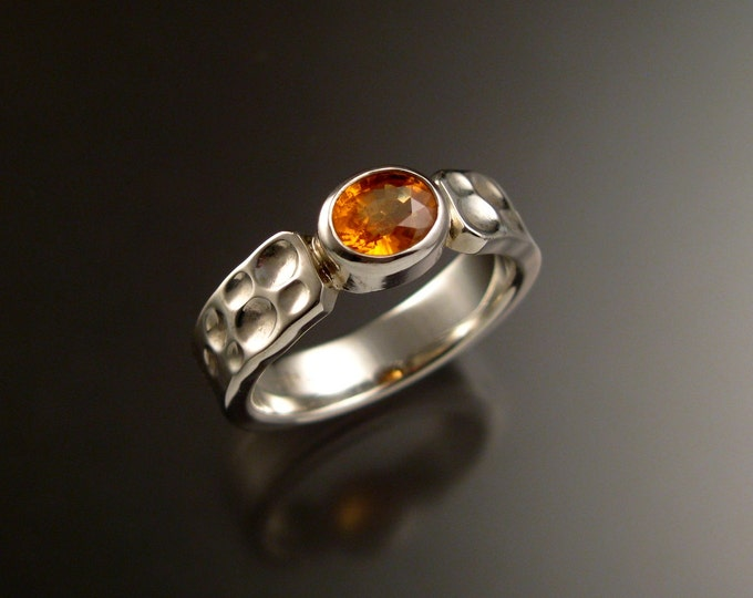 Orange Garnet and Sterling Silver ring with 2x5mm Moonscape band made to order in your size