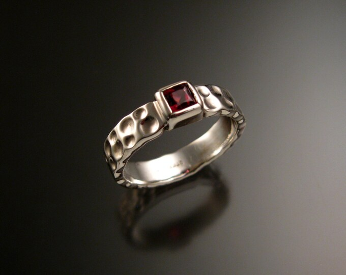 Garnet 4mm square Moonscape band handcrafted in 14k White Gold Ruby Substitute ring made to order in your size
