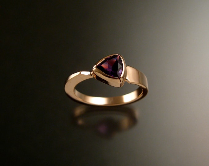 Amethyst triangle ring 14k Rose Gold bezel set Stone Asymmetrical setting made to order in your Size