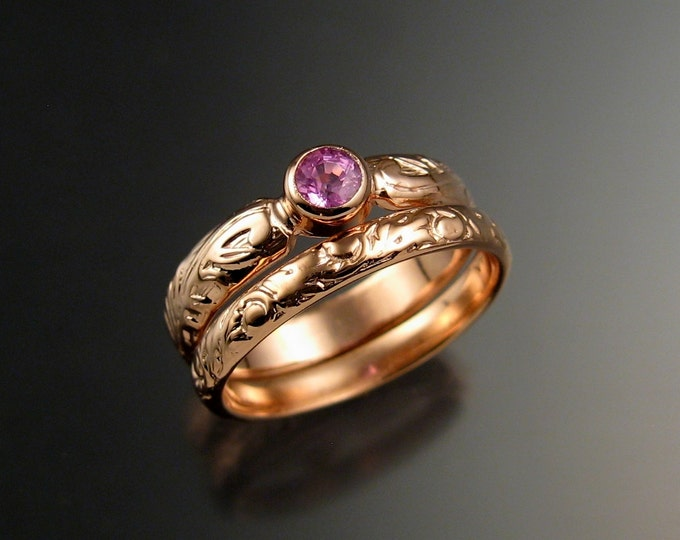 Pink Sapphire 14k rose gold Natural stone diamond substitute Victorian Wedding set made to order in your size