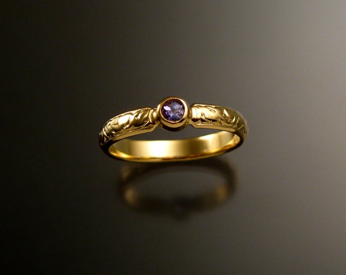 Tanzanite Wedding ring 14k Yellow Gold Victorian bezel set ring made to order in your size