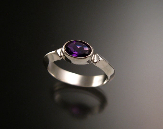 Amethyst 14k White Gold triangular band ring with bezel set east west stone ring handmade to order in your size