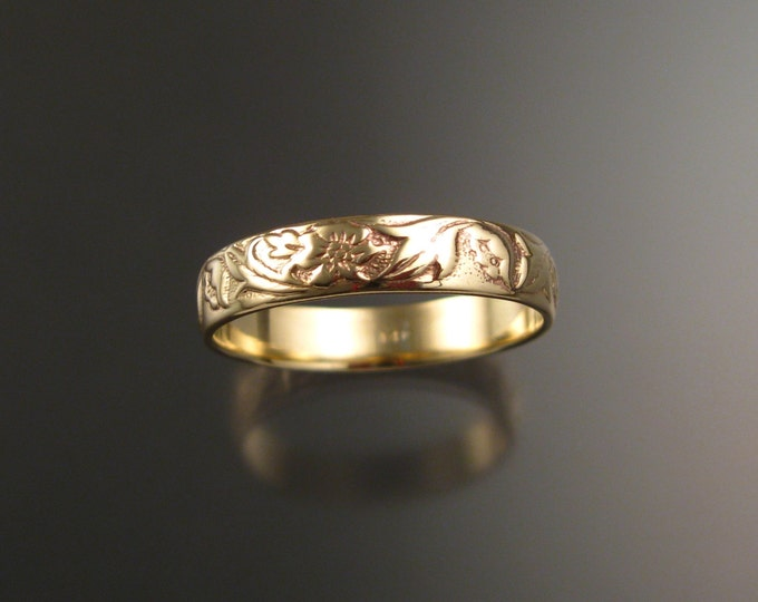 Yellow Gold 4.7mm flower and vine pattern 14k wedding Band wedding ring made to order in your large size Victorian wedding band