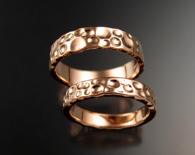 Rose Gold Moonscape Wedding Heavy 14k band His and Hers Unique Handmade ring set for Bride and Groom made to order in your size