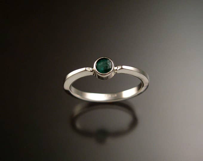 Emerald stackable ring Sterling Silver bezel set natural stone ring made to order in your size