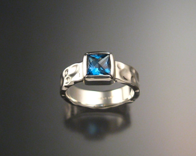 Natural London Blue Topaz Ring Sterling silver Made to Order square stone wide band Moonscape Ring