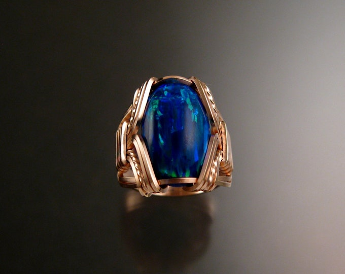Deep Blue Lab created Opal ring 14k Rose Gold-filled Made to order in your size