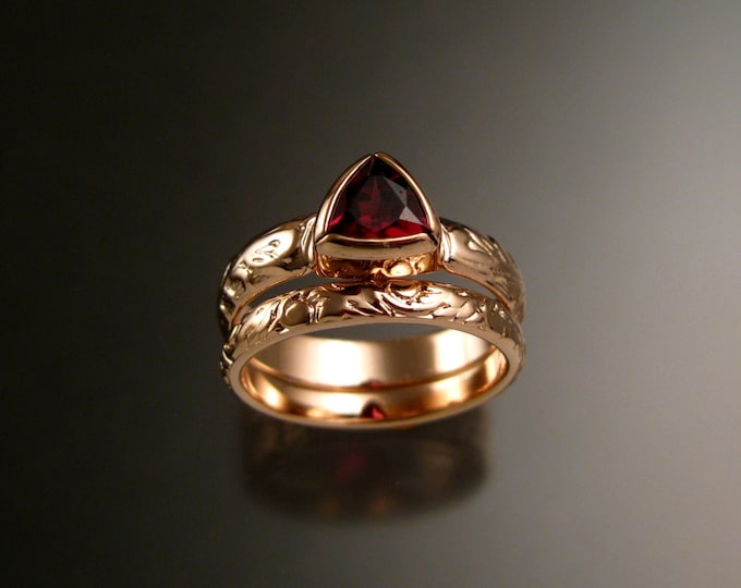 Garnet Triangle ring 14k Rose Gold Victorian bezel set stone two ring wedding set made to order in your size