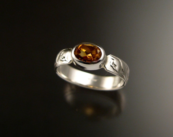 Citrine Ring Sterling silver oval stone Victorian Vine pattern band size 7