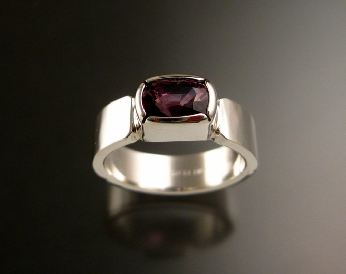 Spinel ring Sterling silver purple rectangular Cushion-cut stone size 8 1/2