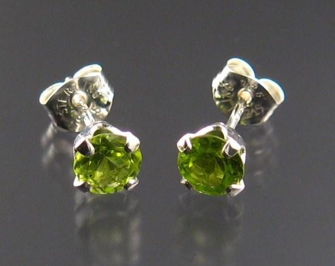 Peridot round post earrings, Sterling