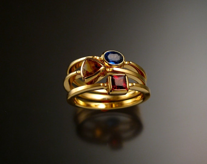 Stackable Mothers Birthstone ring set of three 14k Yellow Gold birthstone stacking rings Made to order in your size