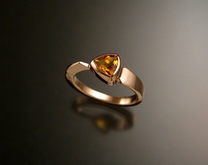 Citrine triangle ring 14k Rose Gold bezel set Stone Asymmetrical setting made to order in your Size