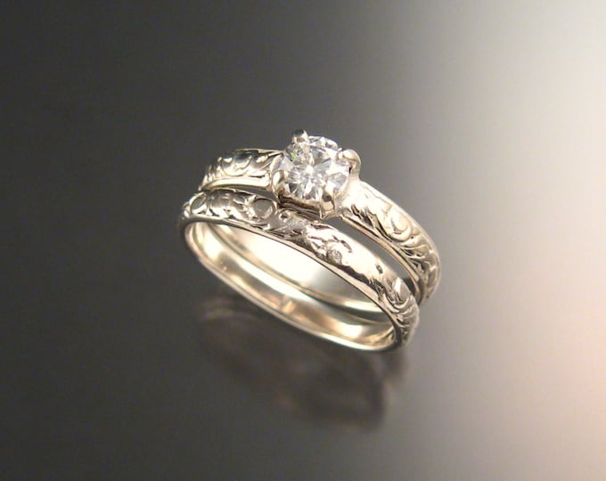 White Sapphire Wedding set 14k White Gold Diamond substitute Victorian ring made to order in your size