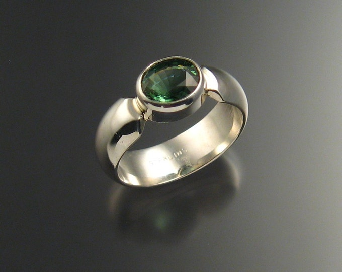 Green Tourmaline ring Sterling silver Wide Low dome band size 6 3/4