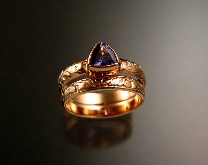 Tanzanite Triangle ring 14k Rose Gold Victorian bezel set stone two ring set made to order in your size