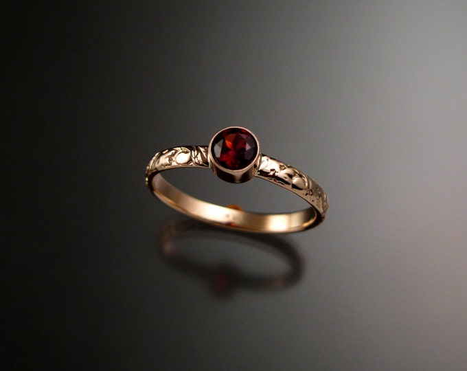 Garnet ring 14k Rose Gold bezel set Victorian floral pattern Diamond substitute ring made to order in your size