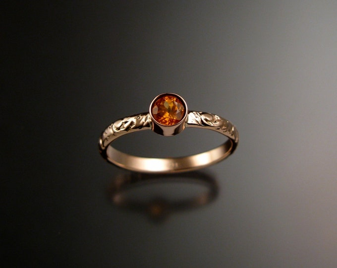 Orange Garnet ring 14k Rose Gold  bezel set Victorian floral pattern ring made to order in your size
