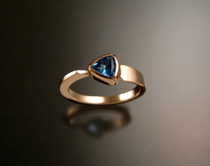 Blue Topaz triangle ring 14k Rose Gold bezel set Stone Asymmetrical setting made to order in your Size