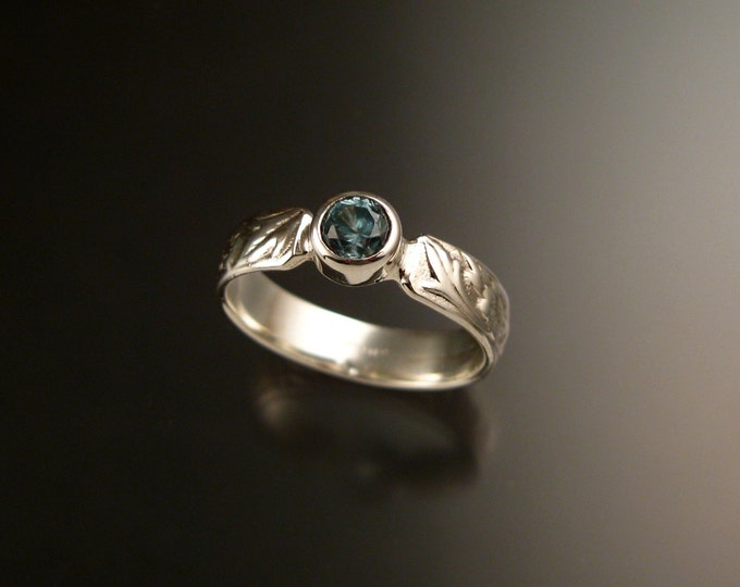 Blue Zircon ring Sterling Silver blue Diamond substitute Victorian flower and vine pattern ring made to order in your size