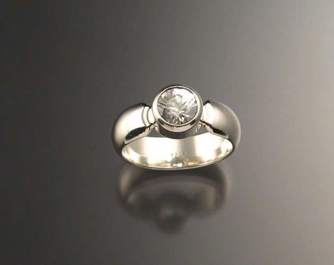 White Zircon ring Sterling silver Made to order in your size
