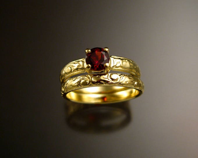 Garnet 14k Green Gold Victorian floral pattern wedding ring set engagement rings Made to order in your size