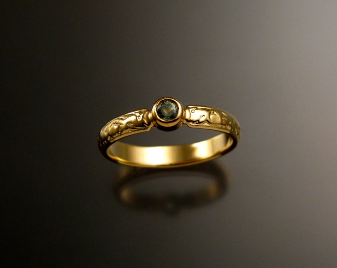 Green Sapphire Wedding ring 14k Yellow Gold Victorian bezel set Green Diamond substitute ring made to order in your size