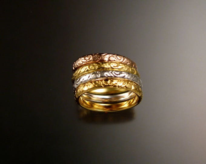 Stackable solid Gold 14k Gold Floral pattern band four color ring set made to order in your size Victorian 14k gold stacking rings
