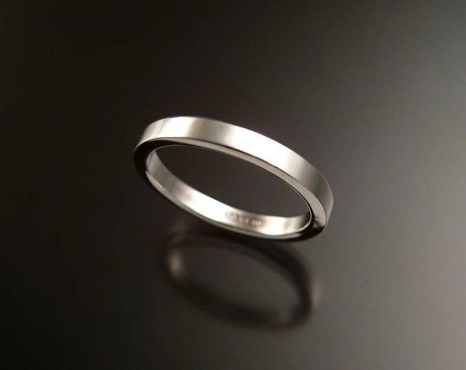 Sterling Silver 2x3mm rectangular Wedding band made to order in your size